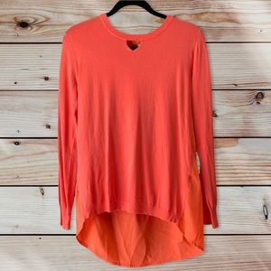 One A Coral Mixed Media Blouse-M